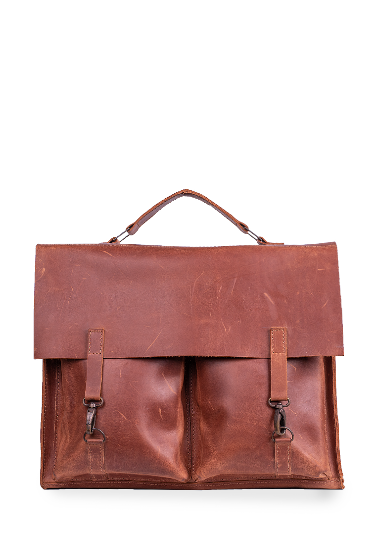 Genuine Leather Briefcase On Snap Hooks