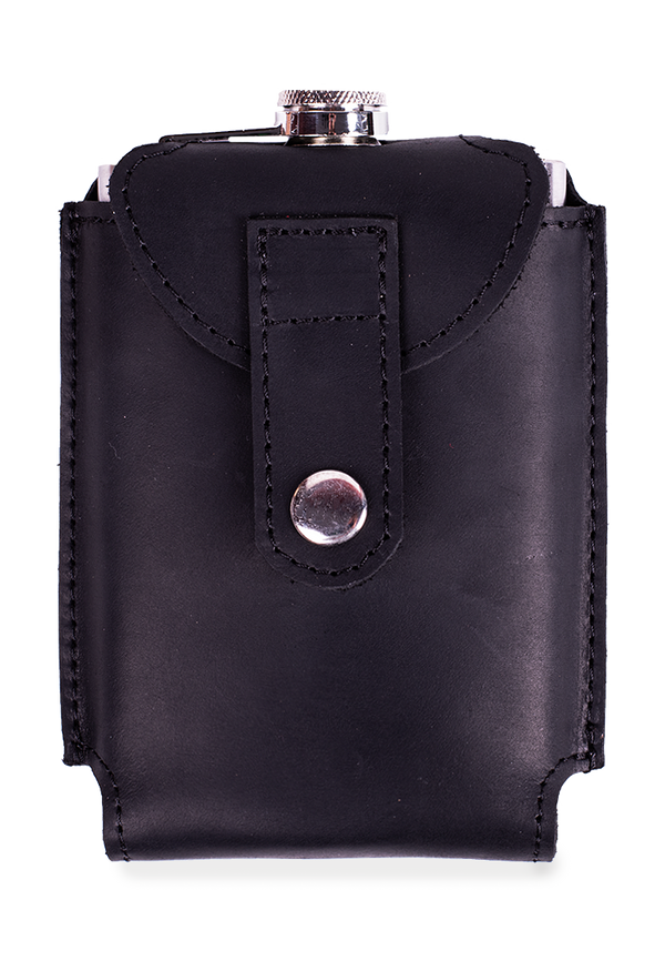 A Metal Flask In A Leather Cover
