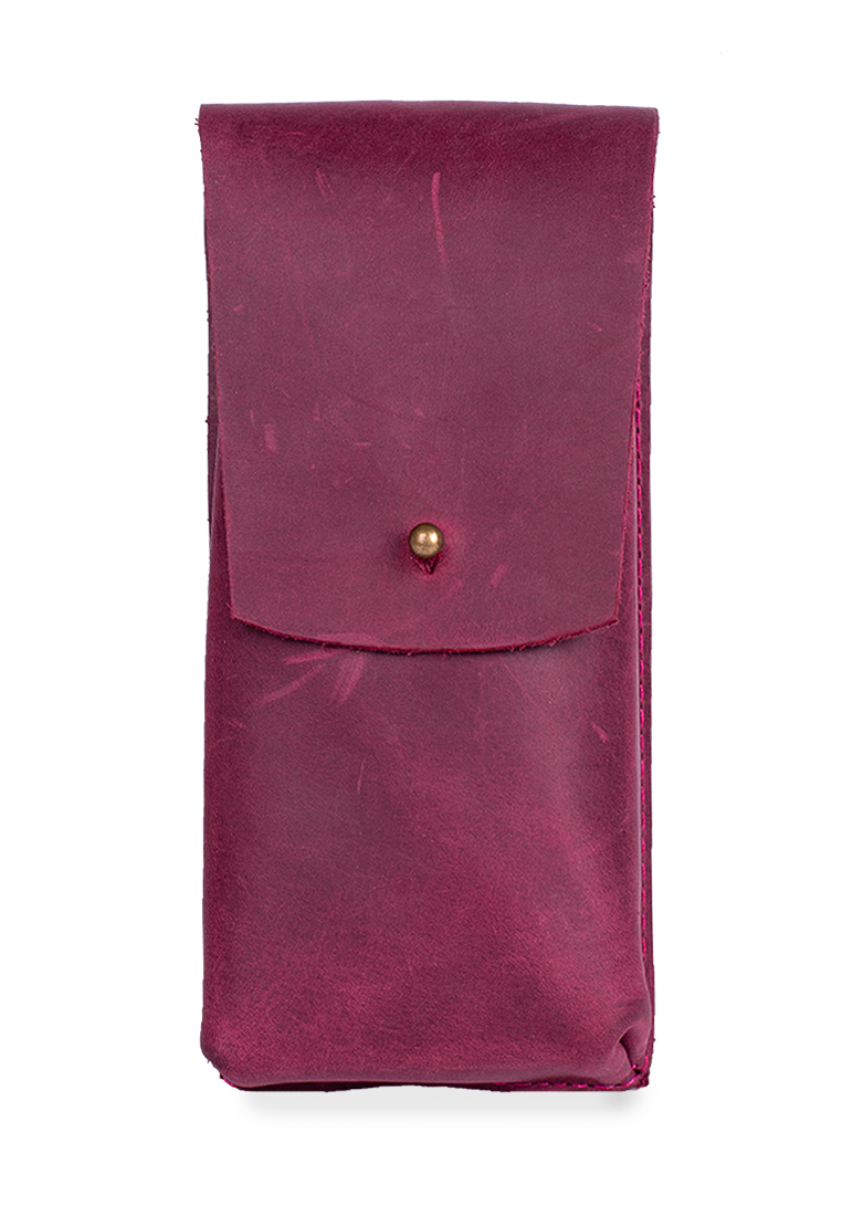Classic Leather Eyeglass Case With Steel Button Stud