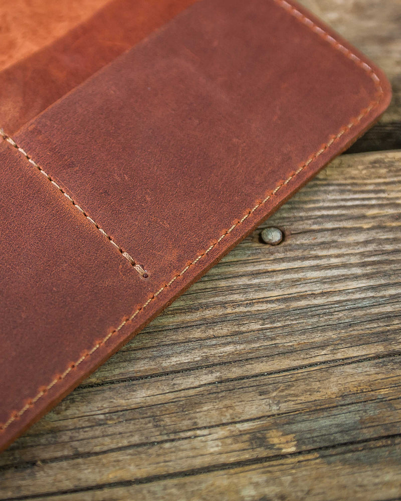 Long Stylish Bifold Natural Leather Wallet
