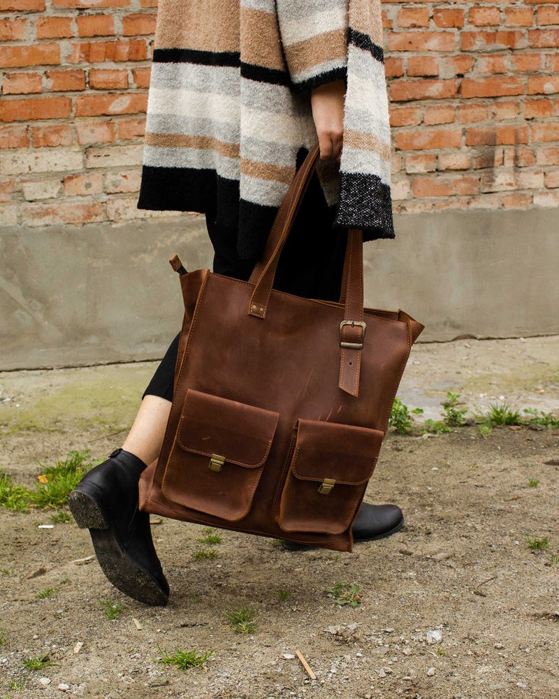 Large Leather Tote Bag Made Of Leather