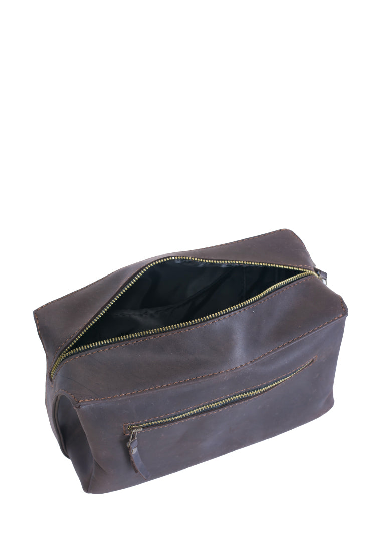 Leather Minimalist Cosmetic Bag With Two Handles