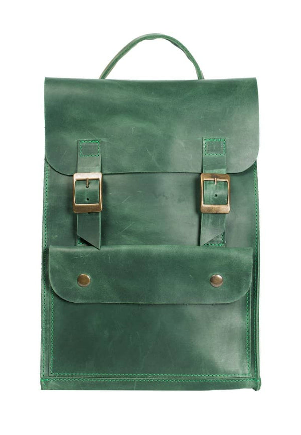 Elegant Leather Rucksack Gets Closed With Buckles