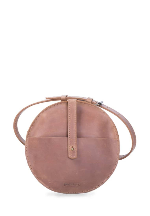 Elegant Round Leather Bag On Waist Or Shoulder