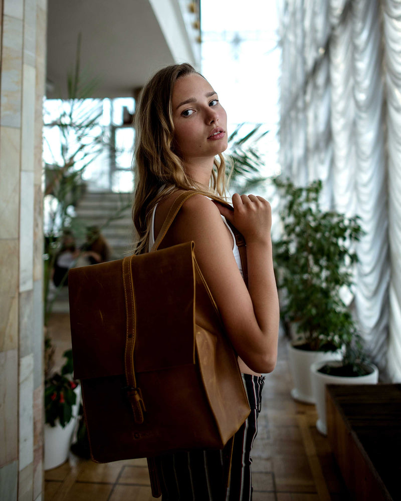 Vintage Leather Handmade Backpack For Everyday