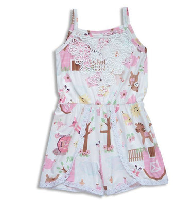 Farm Animals Lace Romper Dress
