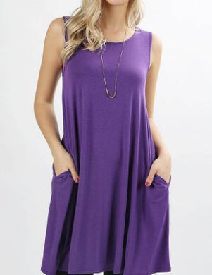 Sleeveless Long-line Top with Pocket - Plus