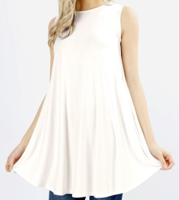 Sleeveless Long-line Top with Pocket