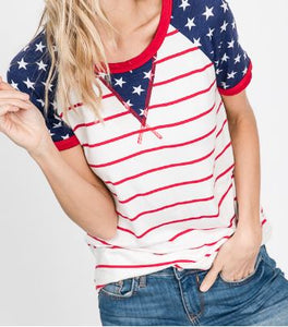 Stars and Stripes Raglan Sleeve Top