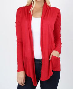 Zenana Long Sleeve Waterfall Drape Cardigan