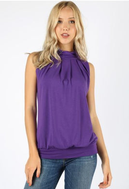 Premium High Neck Pleated Top
