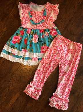 Print Dress with Icing Ruffle Pants