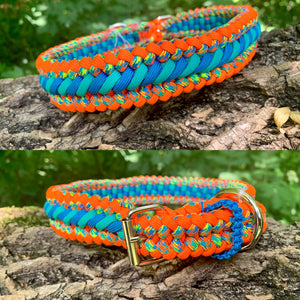 "orange and blue Bootlace Collar 18""-20"""