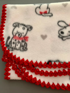 Heart Dogs with Red Edge Blanket
