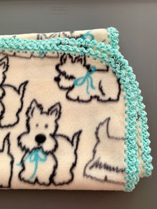 Cream Dogs With Mint Edge Blanket
