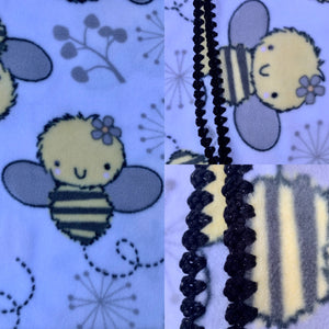 Bees on White with Black Sparkle Edge Blanket