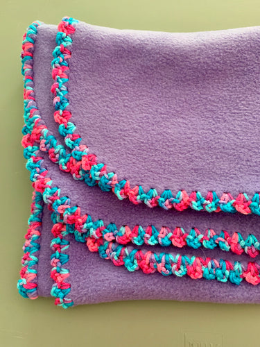 Purple with Pink and Blue Edge Blanket
