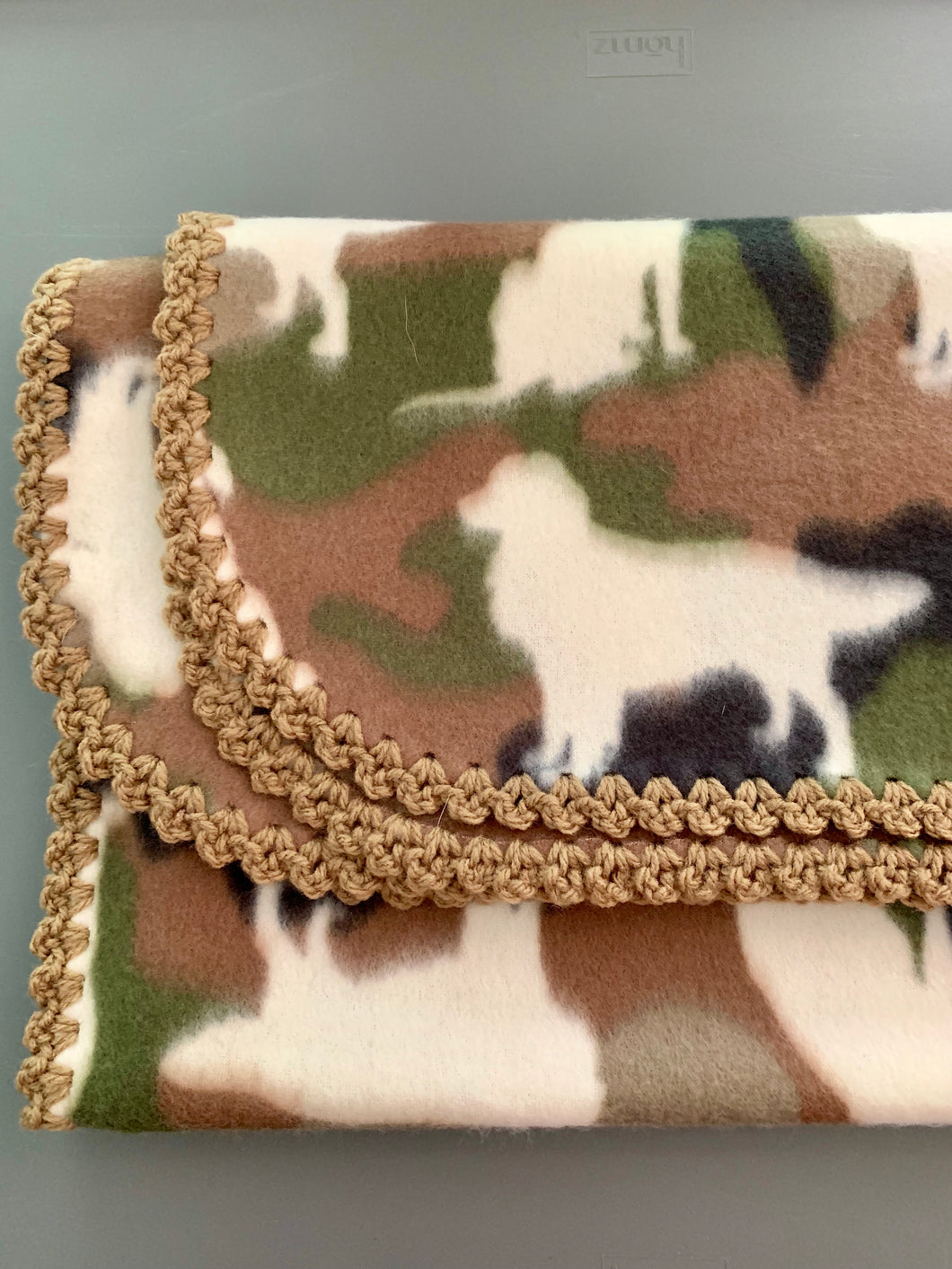 Dog Camo with Tan Edge Blanket