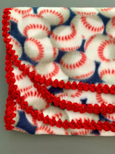 Load image into Gallery viewer, Baseball with Red Sparkle Edge Blanket
