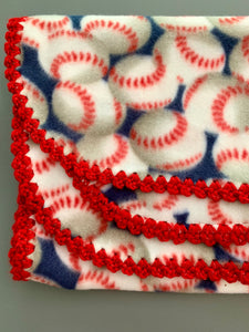 Baseball with Red Sparkle Edge Blanket