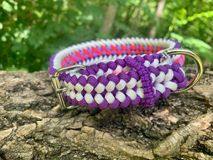 "Pink, purple and white Bootlace Collar 14""-15"""