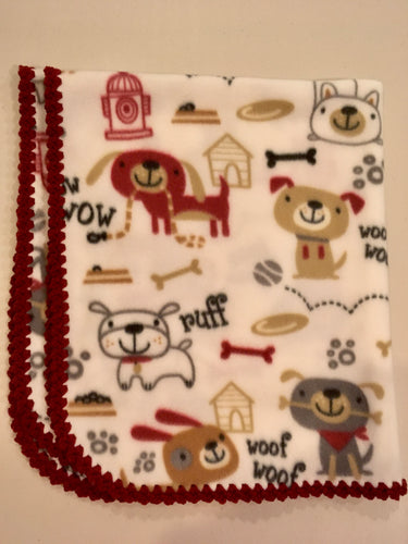 White with dogs and bones with maroon Edge Blanket