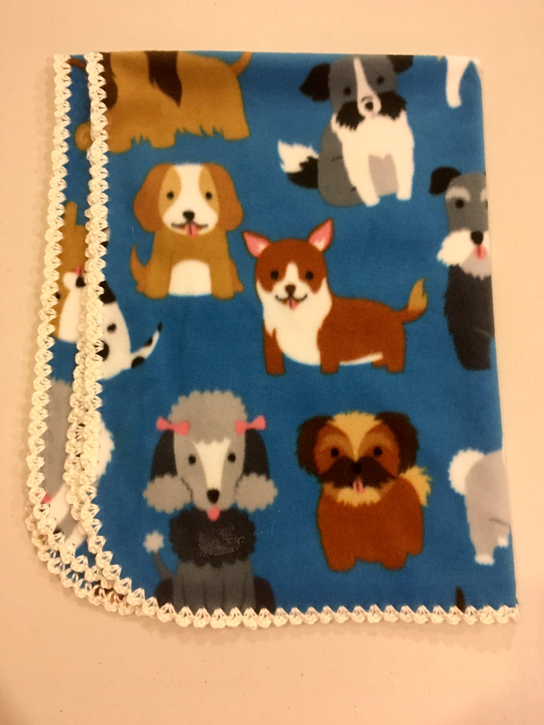 cartoon dogs on blue with white Edge Blanket