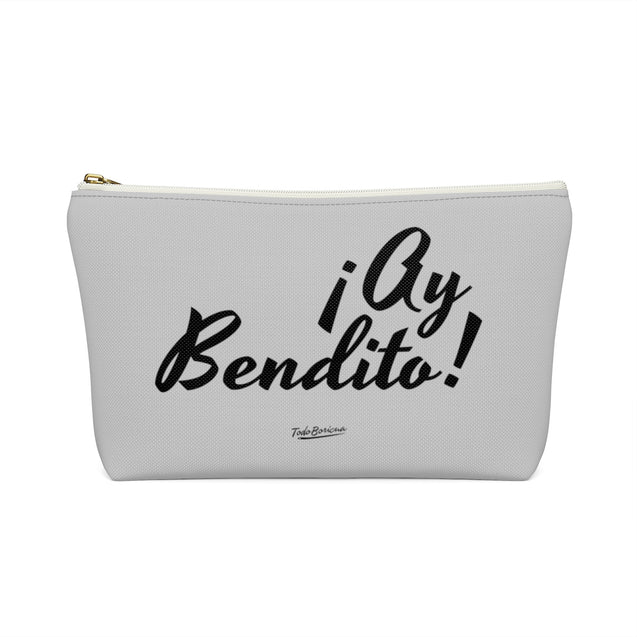 Gray Ay Bendito Accessory/Makeup Pouch w T-bottom