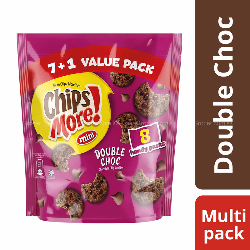 Mini Chipsmore Double Choc Chocolate Chip Cookies 32g x 8