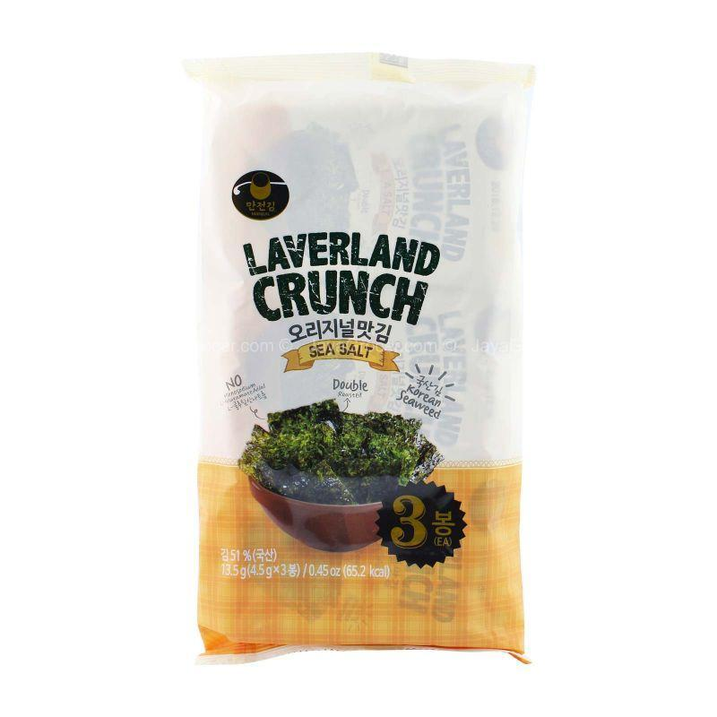 Manjun Laverland Crunch Sea salt Korean Seaweed 4.5g x 3
