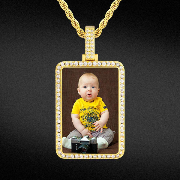 Iced Custom Dog Tag Picture Necklace Photo Pendant