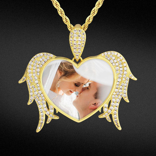 Iced Custom Protective Angel Wings Heart Picture Necklace Photo Pendant