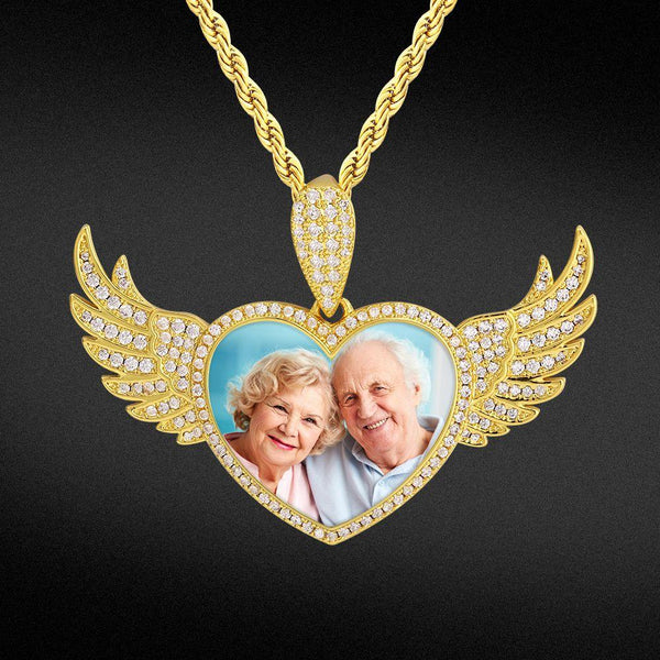 Iced Custom Flying Angel Wings Heart Picture Necklace Photo Pendant