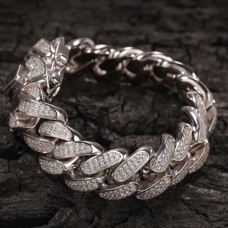 Diamond Cuban Bracelet (20mm) in Gold/White Gold