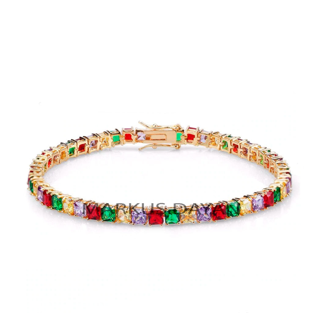 18K Colored Iced Out  Tennis Bracelet