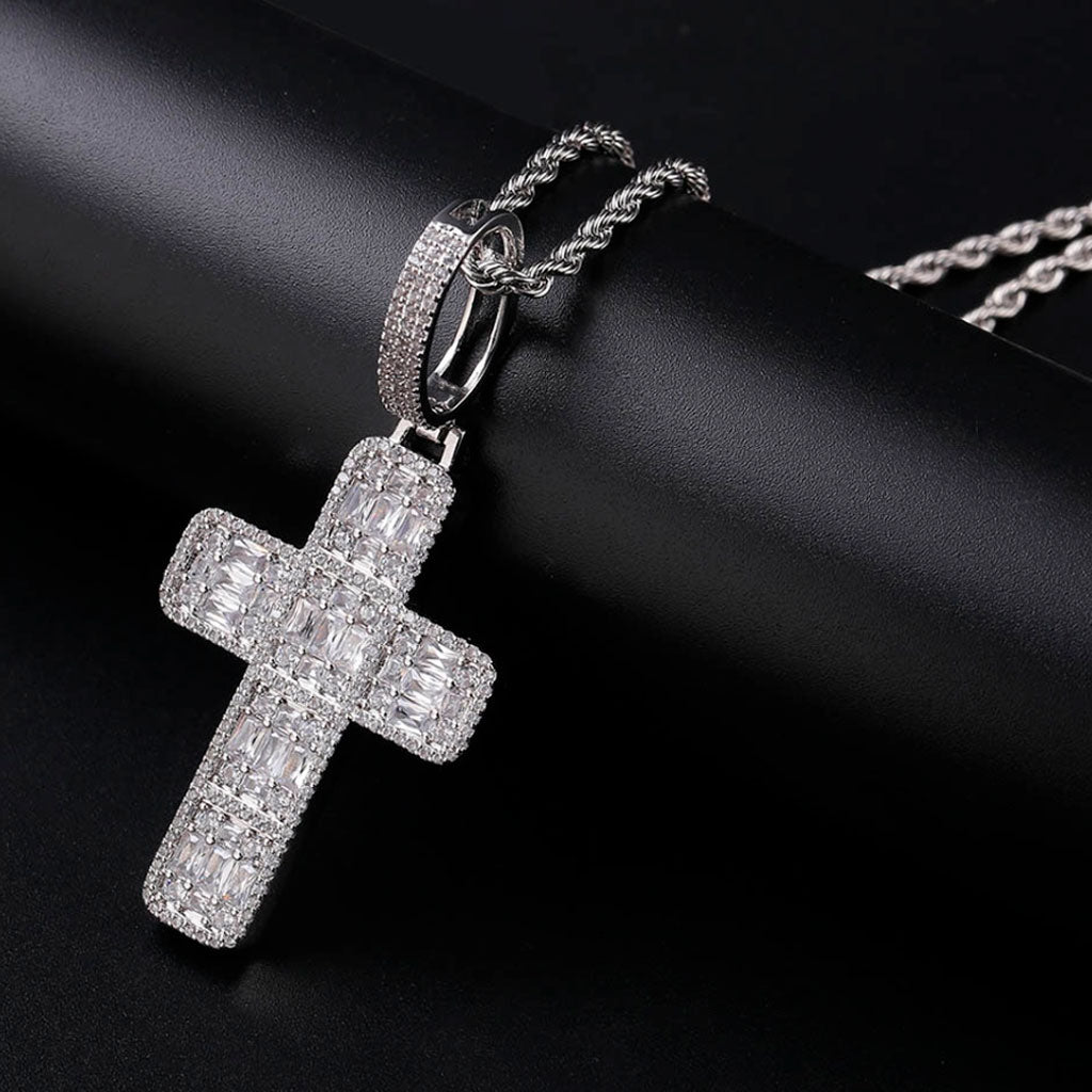 18K Iced Out Diamond Cross Necklace Pendant