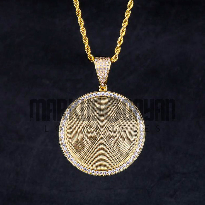 Iced Custom Picture Pendant 14K Gold Plated