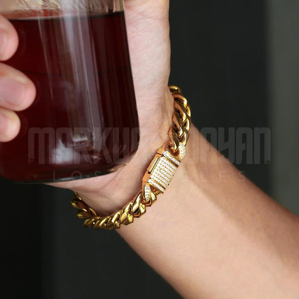 12mm Iced Clasp Miami Cuban Link Bracelet in 18K Gold