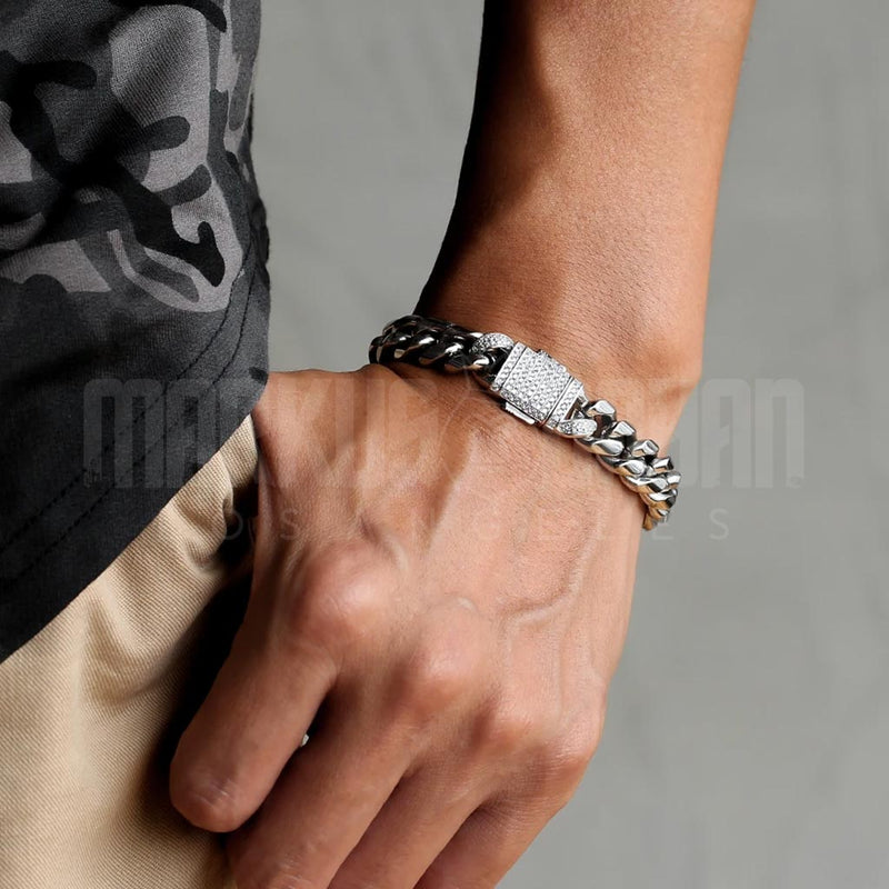 12mm Iced Clasp Miami Cuban Link Bracelet in White Gold