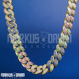 12mm Premium Cuban Mixed Color Chain