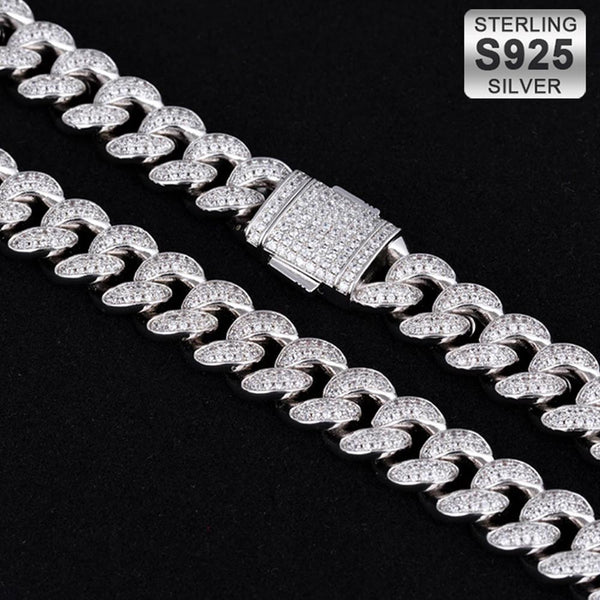 12mm 925 Sterling Silver Iced Cuban chain