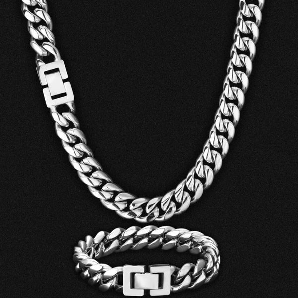 12mm Miami Cuban Link Chain and Bracelet White Gold Plated