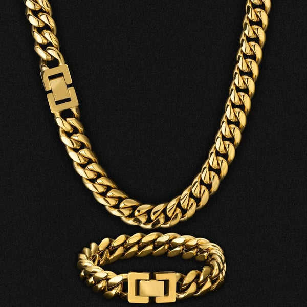 12mm Miami Cuban Link Chain and bracelet box clasp Set 18K Gold Plated