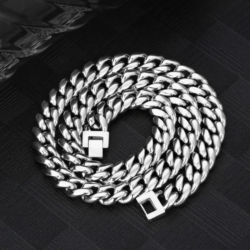 12mm Miami Cuban Link Chain White Gold Plated