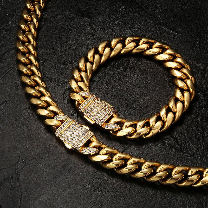 18K Gold 12mm Miami Cuban Link Chain&Bracelet Bundle Iced Clasp