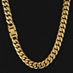 12mm Miami Cuban Link Chain 18K Gold Plated