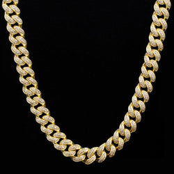 12mm/15mm Luxury Cuban Iced Miami Chain Box lock in Gold/White Gold