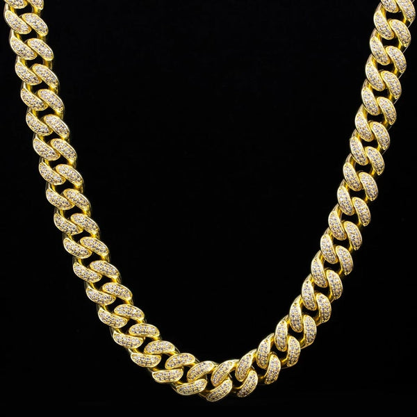 12mm 14K Gold Iced Cuban Luxury Bundle Chain&Bracelet
