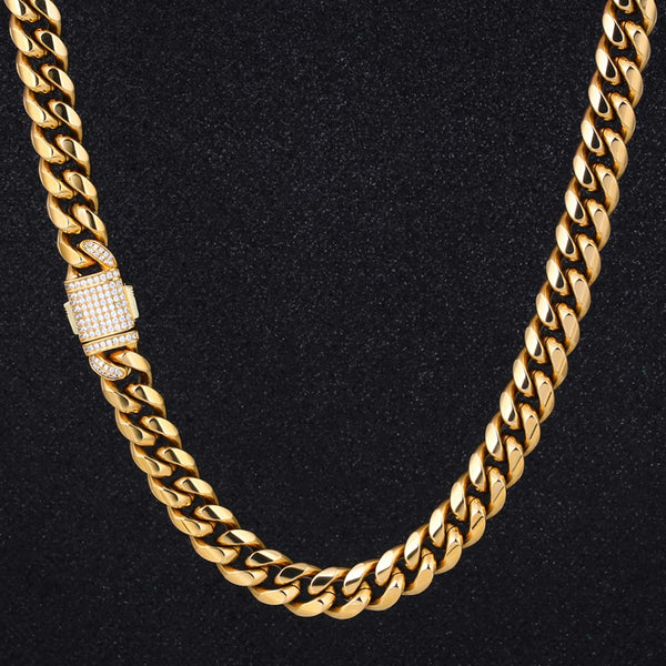 18K Gold 12mm Miami Cuban Link Chain Iced Clasp