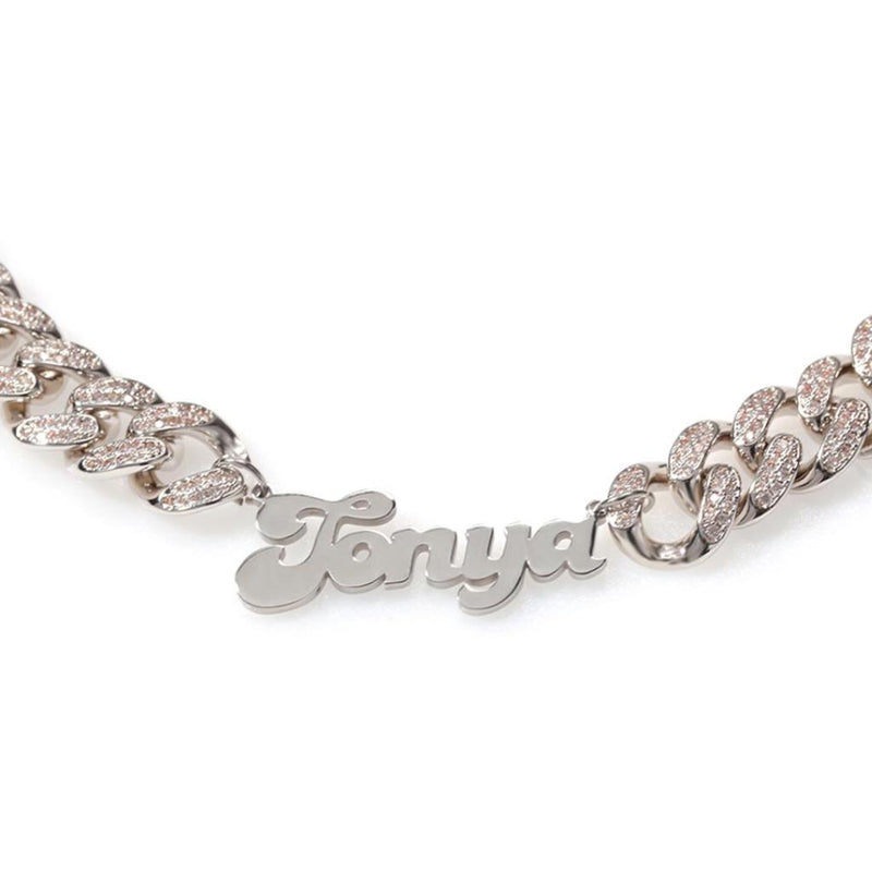 Customized Name Stainless Steel Iced Out 12mm Cuban Chain Necklace